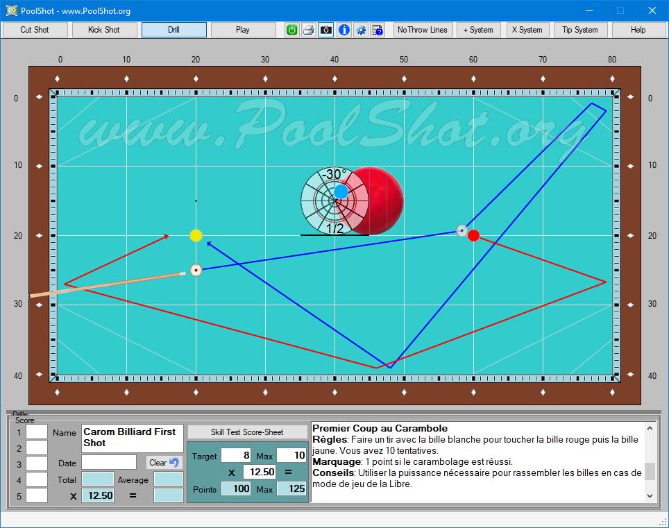 poolshot, the pool aiming training software carom drills Billiards Table carom billiard first shot