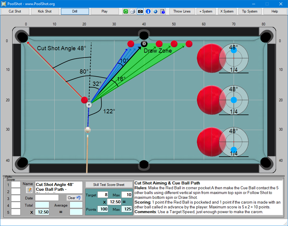 Cut Shot Angle 48° Cue Ball Path - Blackball