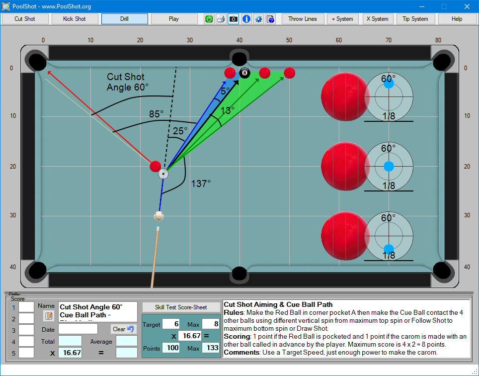 Cut Shot Angle 60° Cue Ball Path - Blackball