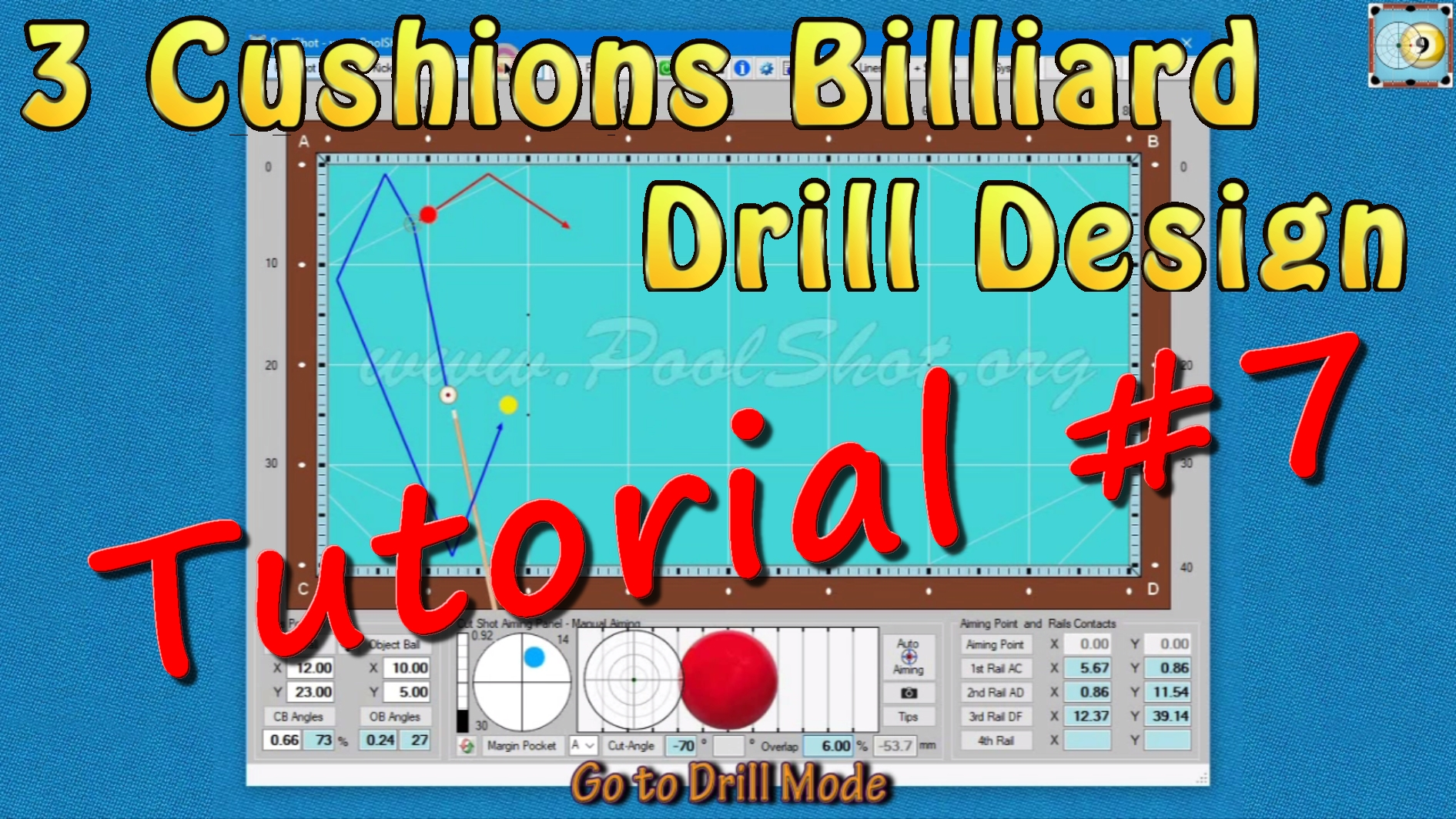 How To Design a 3-Cushions Drill with PoolShot Software